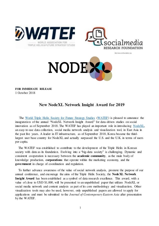 1 FOR IMMEDIATE RELEASE 1 October 2018 New NodeXL Network Insight Award for 2019 The World Triple Helix Society for Future...