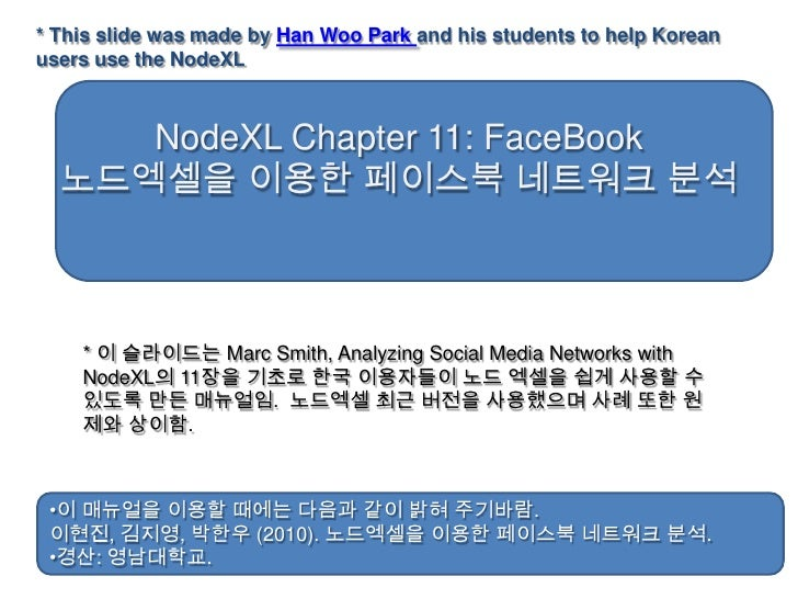 * This slide was made by Han Woo Park and his students to help Korean users use the NodeXL<br />NodeXL Chapter 11: FaceBoo...