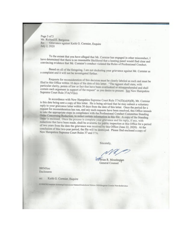 NH Attorney Discipline Committee Refuses to Docket Andrew Livernois and Keith Cormier Grievance