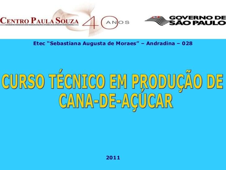 """Etec """"Sebastiana Augusta de Moraes"""" – Andradina – 028 2011 CURSO TÉCNICO EM PRODUÇÃO DE CANA-DE-AÇÚCAR"""