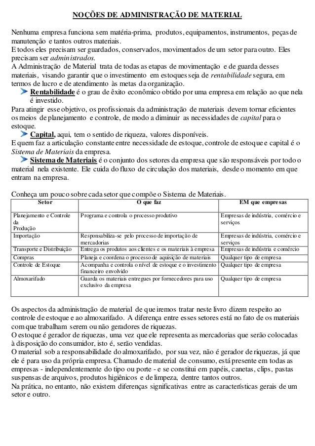 NOÇÕES DE ADMINISTRAÇÃO DE MATERIAL  Nenhuma empresa funciona sem matéria-prima, produtos, equipamentos, instrumentos, peç...