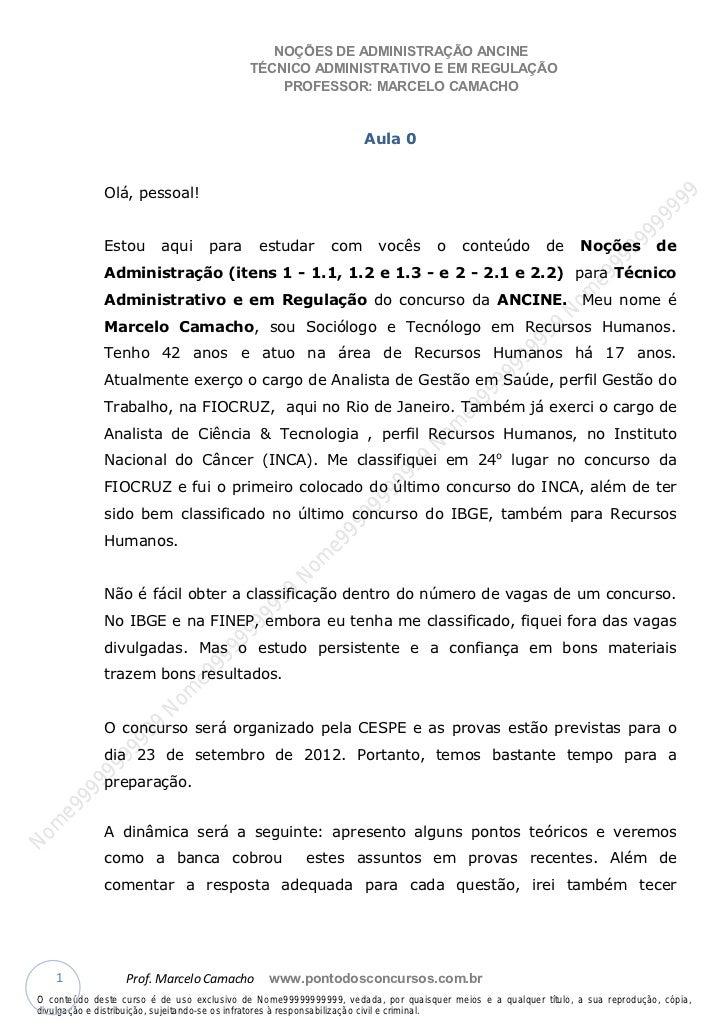 Nome99999999999                                               NOÇÕES DE ADMINISTRAÇÃO ANCINE                              ...
