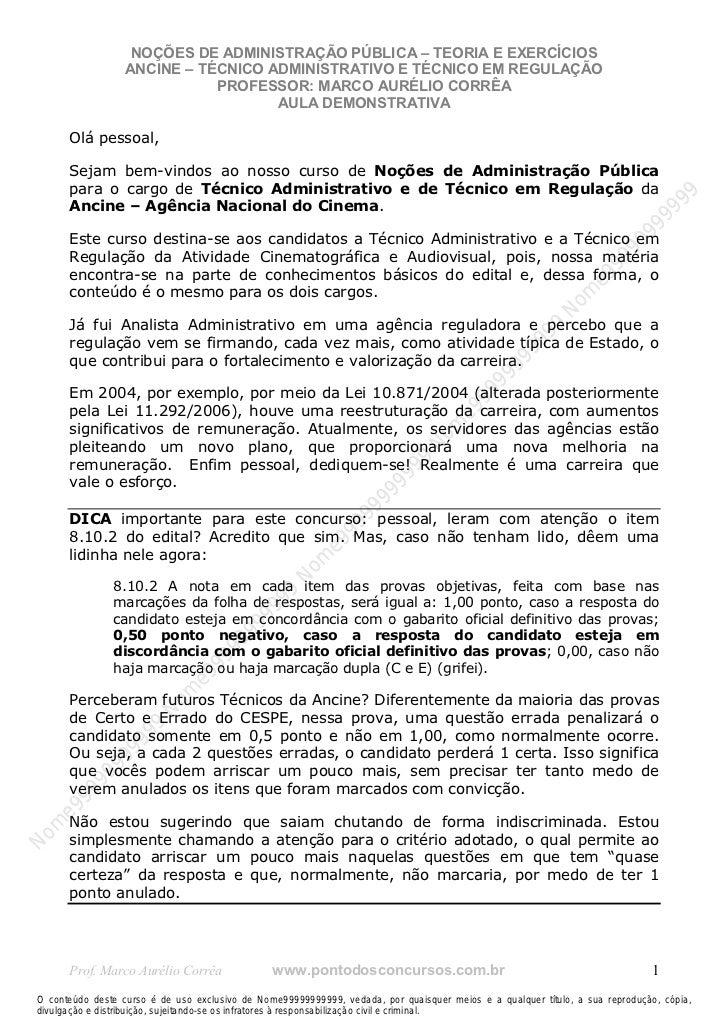 Nome99999999999                    NOÇÕES DE ADMINISTRAÇÃO PÚBLICA – TEORIA E EXERCÍCIOS                   ANCINE – TÉCNIC...