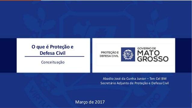 O que é Proteção e Defesa Civil Conceituação Abadio José da Cunha Junior – Ten Cel BM Secretário Adjunto de Proteção e Def...