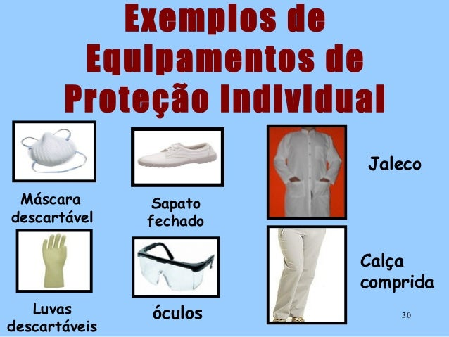 29  30. Exemplos de Equipamentos de Proteção Individual Jaleco Máscara  descartável ... a069bbf73b