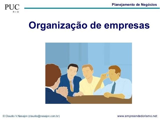 Planejamento de Negócios                    Organização de empresas© Claudio V.Nasajon (claudio@nasajon.com.br)     www.em...