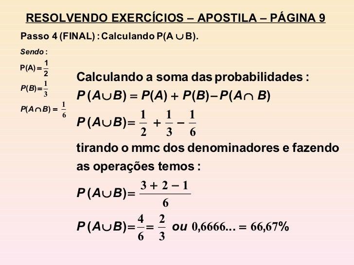 RESOLVENDO EXERCÍCIOS – APOSTILA – PÁGINA 9