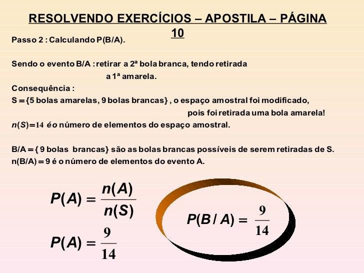 RESOLVENDO EXERCÍCIOS – APOSTILA – PÁGINA 10