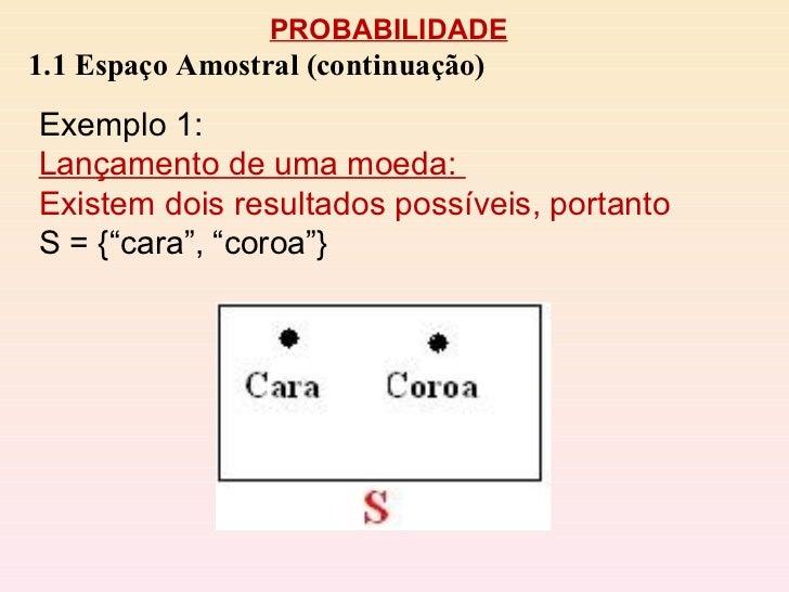 PROBABILIDADE 1.1 Espaço Amostral (continuação) Exemplo 1:  Lançamento de uma moeda:  Existem dois resultados possíveis, p...