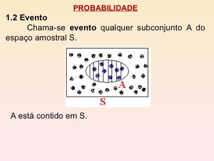 PROBABILIDADE 1.2 Evento Chama-se  evento  qualquer subconjunto A do espaço amostral S.  A está contido em S.