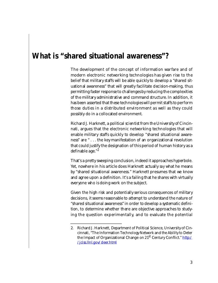 """What is """"shared situational awareness""""?          The development of the concept of information warfare and of          mod..."""