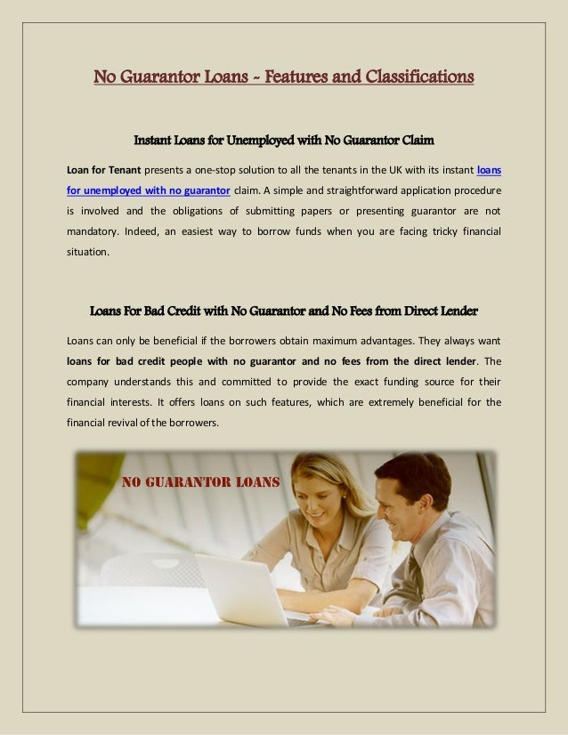 No Guarantor Loans Features And Classifications
