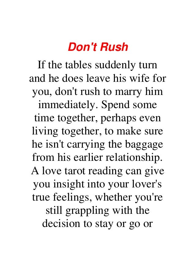 How to make your lover leave his wife