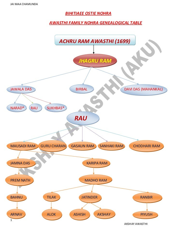 BIHITIAEE OSTIE NOHRA <br /> AWASTHI FAMILY NOHRA GENEALOGICAL TABLE...