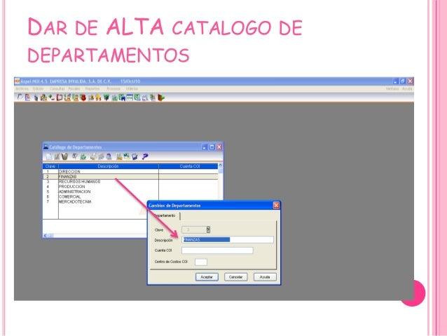 DAR DE ALTA CATALOGO DE DEPARTAMENTOS