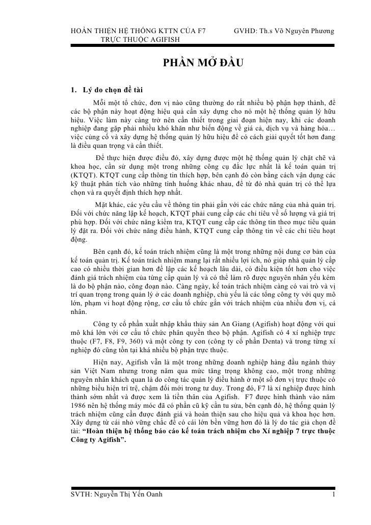 HOÀN THIỆN HỆ THỐNG KTTN CỦA F7                       GVHD: Th.s Võ Nguyên Phương      TRỰC THUỘC AGIFISH                 ...