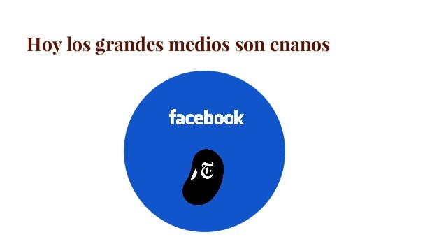 Los grandes medios son enanos Fuente: información de las empresas Facebook red social Ingresos 17.928 B (2015) New York Ti...