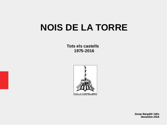 NOIS DE LA TORRE Tots els castells 1975-2016 Josep Bargalló VallsJosep Bargalló Valls desembre 2016desembre 2016