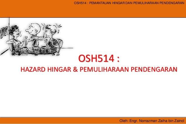 Oleh: Engr. Norrazman Zaiha bin Zainol OSH514 : PEMANTAUAN HINGAR DAN PEMULIHARAAN PENDENGARAN OSH514 : HAZARD HINGAR & PE...