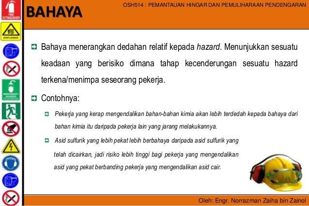 Oleh: Engr. Norrazman Zaiha bin Zainol OSH514 : PEMANTAUAN HINGAR DAN PEMULIHARAAN PENDENGARAN Bahaya menerangkan dedahan ...
