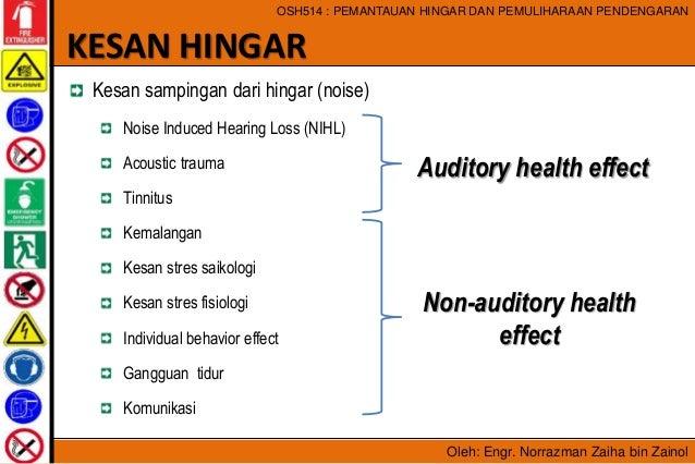 Oleh: Engr. Norrazman Zaiha bin Zainol OSH514 : PEMANTAUAN HINGAR DAN PEMULIHARAAN PENDENGARAN Kesan sampingan dari hingar...