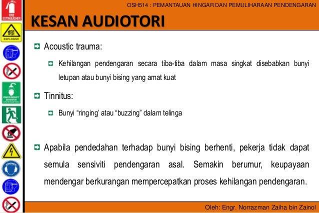 Oleh: Engr. Norrazman Zaiha bin Zainol OSH514 : PEMANTAUAN HINGAR DAN PEMULIHARAAN PENDENGARAN Acoustic trauma: Kehilangan...