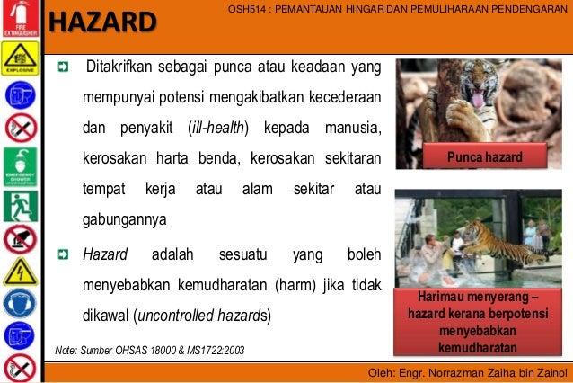 Oleh: Engr. Norrazman Zaiha bin Zainol OSH514 : PEMANTAUAN HINGAR DAN PEMULIHARAAN PENDENGARAN Ditakrifkan sebagai punca a...