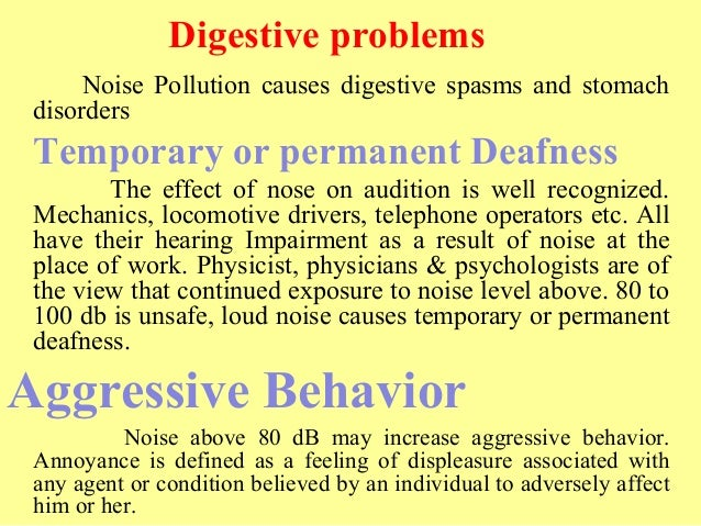 noise pollution 32 digestive problems noise pollution