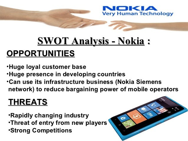 a swot analysis of the nokia inc Swot analysis nokia was once the largest seller of mobile phones in the world it was mainly due to its durability and reliability provided by its mobile phones (fine, 2009.
