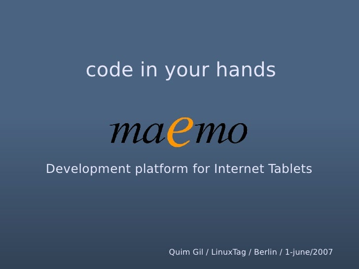 code in your hands   Brought to you by Nokia    We are over here                    Quim Gil / LinuxTag / Berlin / 1-june-...