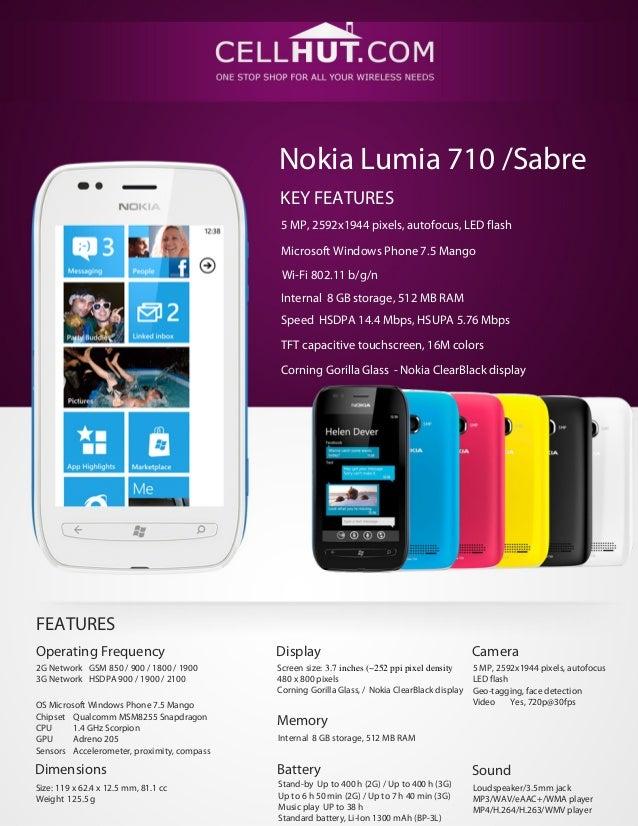 Nokia Lumia 710 /SabreKEY FEATURES5 MP, 2592х1944 pixels, autofocus, LED flashMicrosoft Windows Phone 7.5 MangoWi-Fi 802.1...