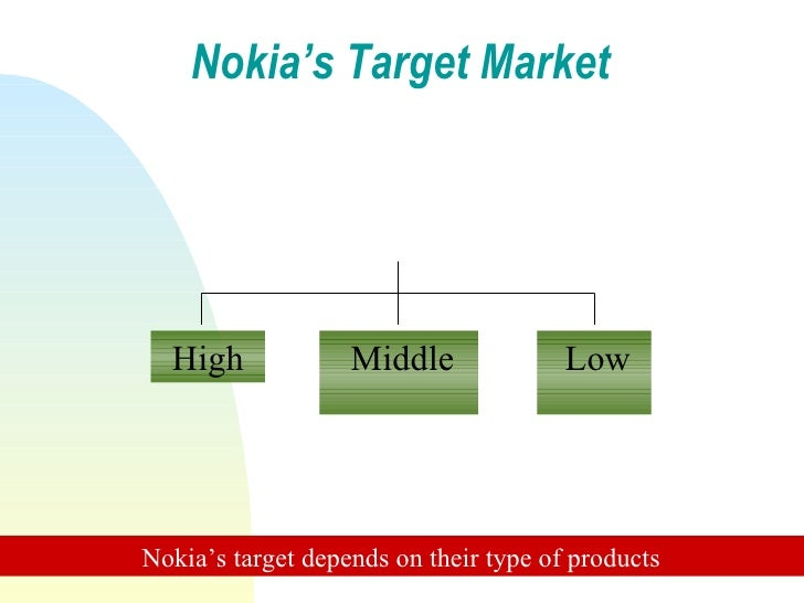 target market for nokia company Market segmentation is the process of breaking your total target audience into separate groups of customers with similar traits or interests the characteristics used in segmenting relate to.