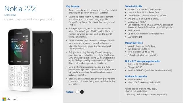 Nokia 222 datasheets