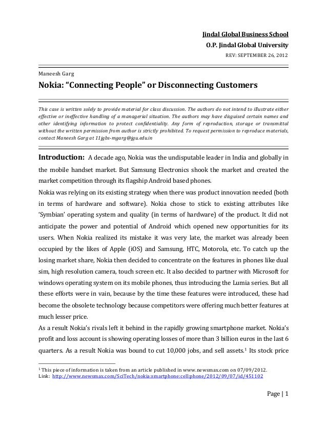 "Page | 1 Jindal Global Business School O.P. Jindal Global University REV: SEPTEMBER 26, 2012 Maneesh Garg Nokia: ""Connecti..."