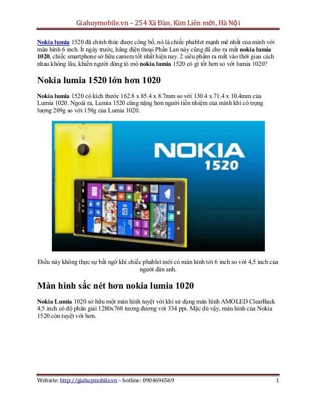 Giahuymobile.vn – 254 Xã Đàn, Kim Liên mới, Hà Nội Nokia lumia 1520 đã chính thức được công bố, nó là chiếc phablet mạnh m...