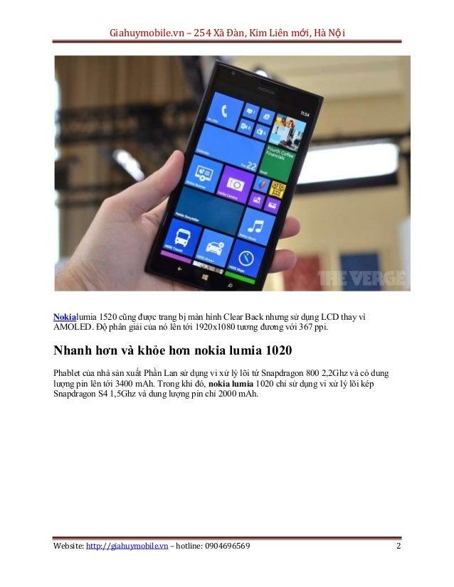 Nokia lumia 1520 có gì hơn so với nokia lumia 1020 Slide 2