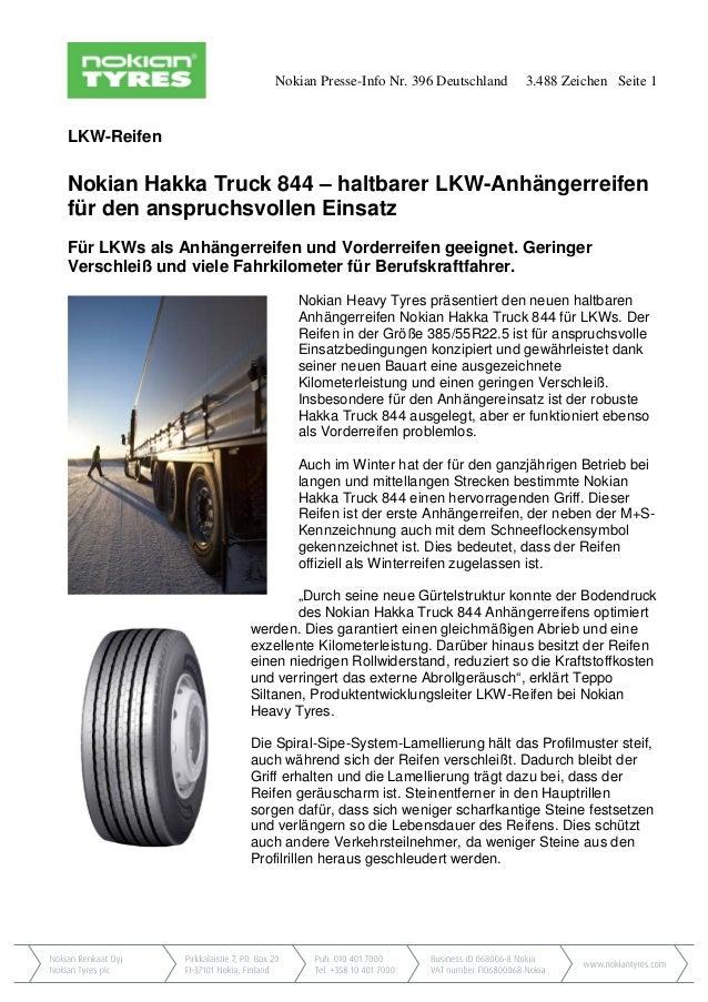 Nokian Presse-Info Nr. 396 Deutschland 3.488 Zeichen Seite 1 LKW-Reifen Nokian Hakka Truck 844 – haltbarer LKW-Anhängerrei...