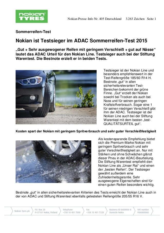 Nokian Presse-Info Nr. 405 Deutschland 3.263 Zeichen Seite 1 Sommerreifen-Test Nokian ist Testsieger im ADAC Sommerreifen-...