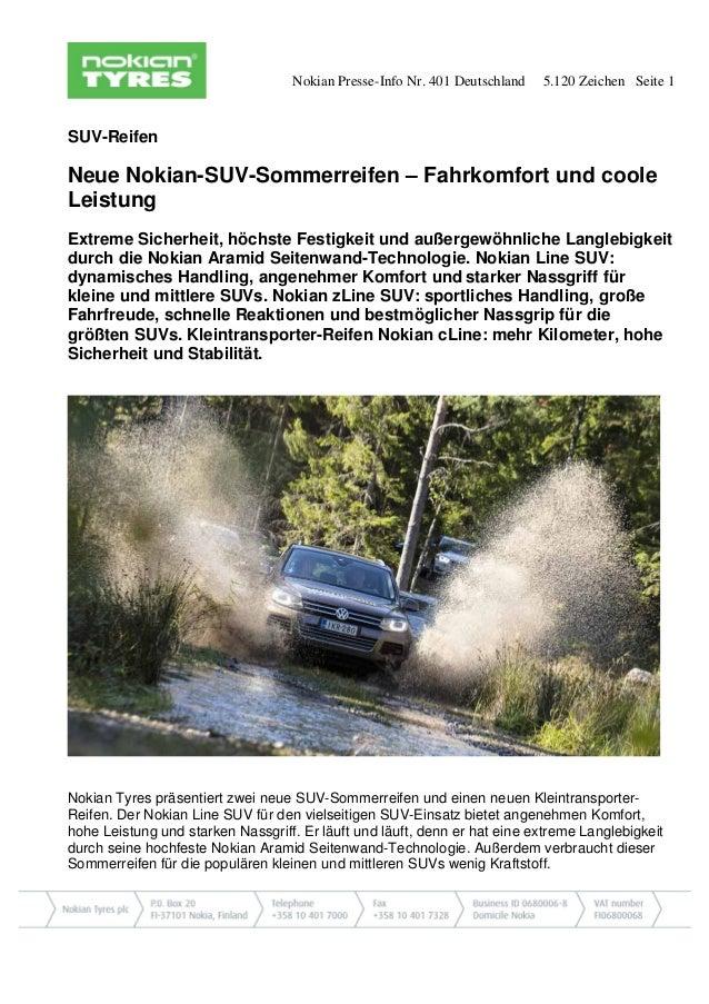 Nokian Presse-Info Nr. 401 Deutschland 5.120 Zeichen Seite 1 SUV-Reifen Neue Nokian-SUV-Sommerreifen – Fahrkomfort und coo...