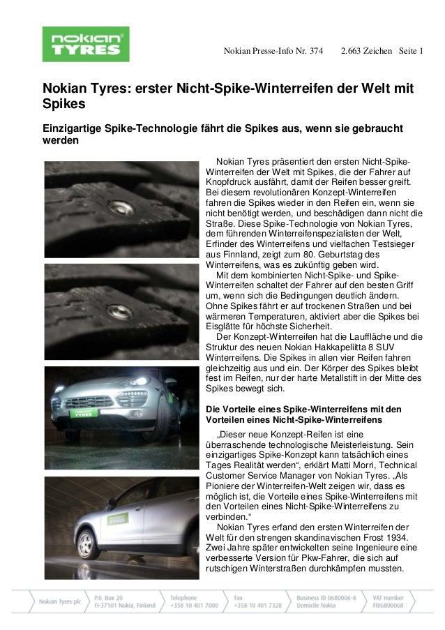 Nokian Presse-Info Nr. 374 2.663 Zeichen Seite 1  Nokian Tyres: erster Nicht-Spike-Winterreifen der Welt mit Spikes  Einzi...