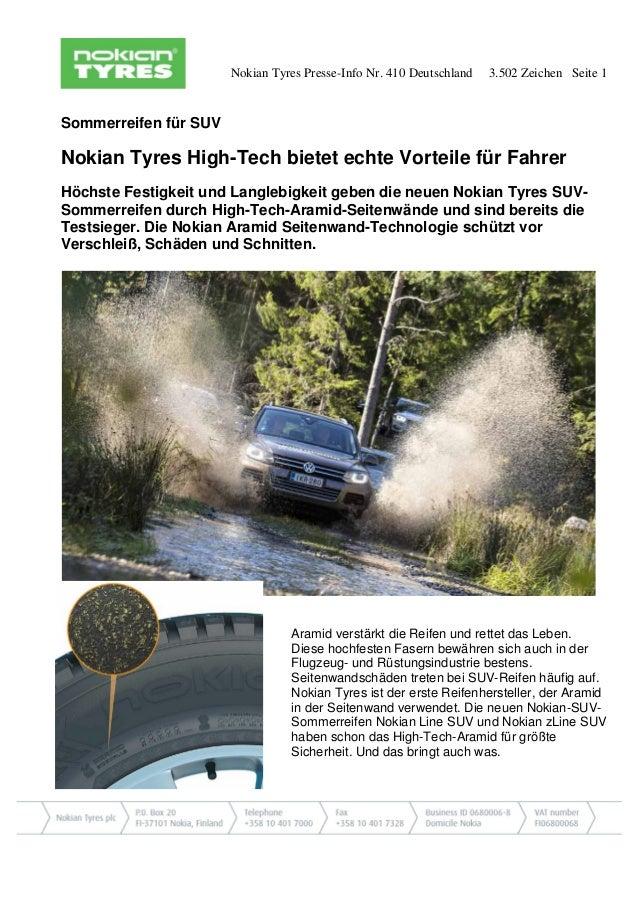 Nokian Tyres Presse-Info Nr. 410 Deutschland 3.502 Zeichen Seite 1 Sommerreifen für SUV Nokian Tyres High-Tech bietet echt...