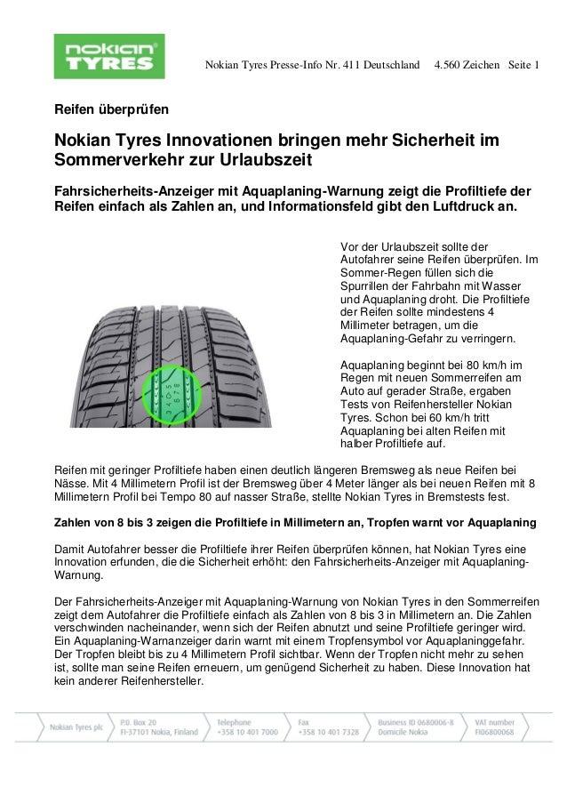 Nokian Tyres Presse-Info Nr. 411 Deutschland 4.560 Zeichen Seite 1 Reifen überprüfen Nokian Tyres Innovationen bringen meh...