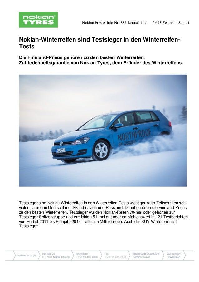 Nokian Presse-Info Nr. 385 Deutschland 2.673 Zeichen Seite 1  Nokian-Winterreifen sind Testsieger in den Winterreifen- Tes...