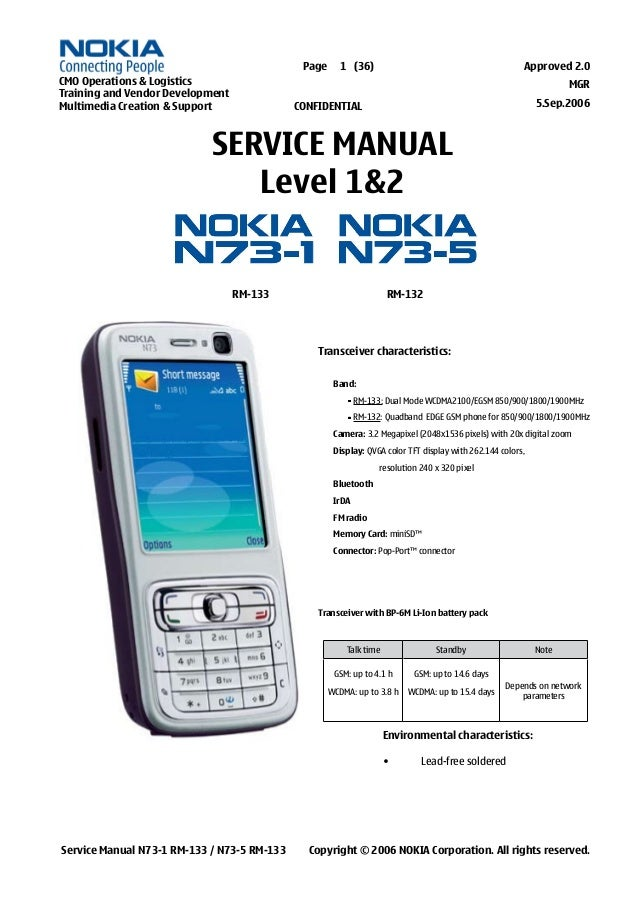 Nokia N73 Service Manual  Level 1 2