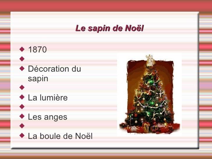 Le sapin de Noël <ul><li>1870 </li></ul><ul><li>Décoration du sapin </li></ul><ul><li>La lumière </li></ul><ul><li>Les ang...