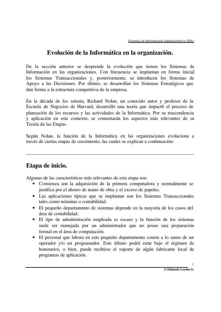 Sistemas de Información Administrativo (SIA)             Evolución de la Informática en la organización.  De la sección an...