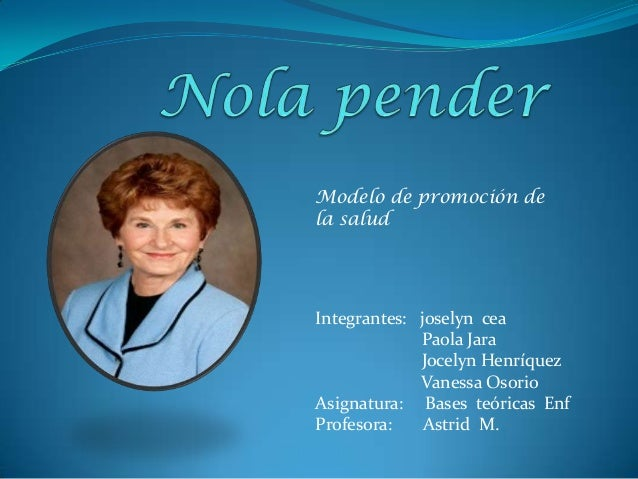 "nola j pender theorist Nursing theory nola pender & the health promotion model by: rachelle snyder nursing 463 pender phd phd pender""-nola j pender."