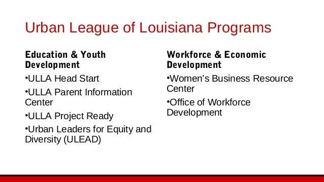Urban League of Louisiana Programs Policy & Social Justice •Urban League's Economic Inclusion •Disaster Preparedness