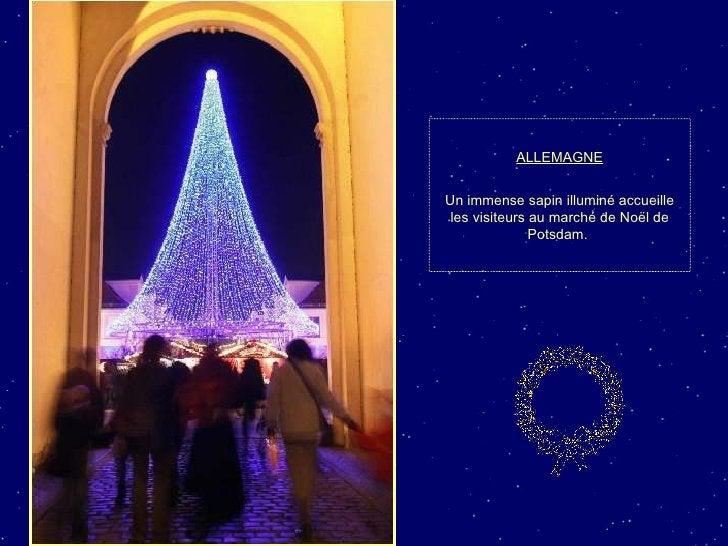 ALLEMAGNE Un immense sapin illuminé accueille les visiteurs au marché de Noël de Potsdam.