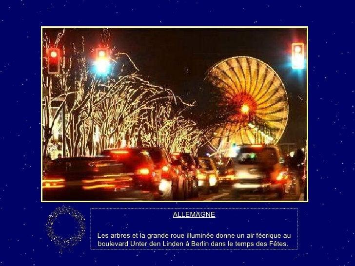 ALLEMAGNE Les arbres et la grande roue illuminée donne un air féerique au boulevard Unter den Linden à Berlin dans le temp...